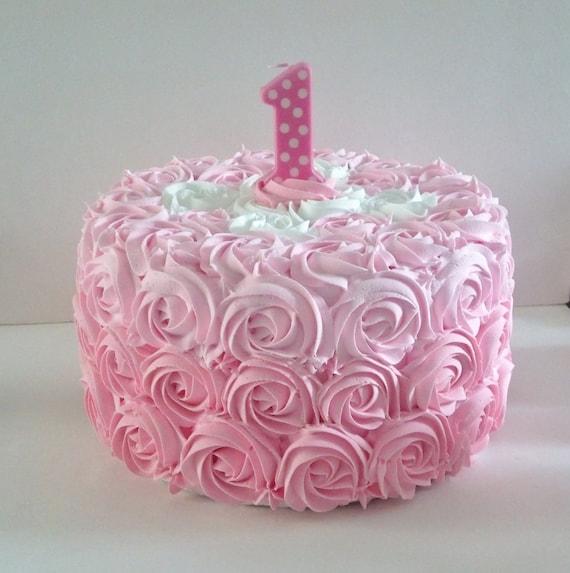 Large pink rosette first birthday fake smash cake photo prop party