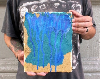 "Painted Desert, Original Textured Acrylic Painting, 8 x 10"""