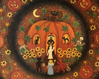 Halloween Folk Art Primitive Hand Painted Plate, Witch in Pumpkin House, Black Cats, Sunflowers, Spider, Frog, Ghost, Goblins MADE TO ORDER
