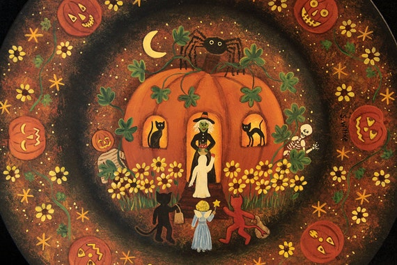 Halloween Folk Art  Hand Painted Wood Plate - MADE TO ORDER - Witch in a Pumpkin House -  Black Cats, Sunflowers, Spider, Ghost, Goblins