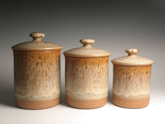 pottery kitchen canister set by brentsmithpottery on etsy image of kitchen canister set ceramic