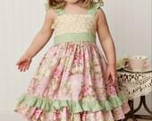 Vintage Rose Flutter Sleeve  Twirl dress-12mos-8