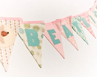Personalised Name Banner - Pastel Pink Blue Nursery Bunting, Animal Decor, Woodland Birthday Party Garland