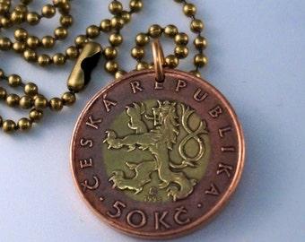 Prague necklace. lion Rampant . Necklace. Lion Necklace. Castle Pendant. Czechoslovakia. Medieval .Mens Pendant. Mens Jewelry NO.00364