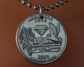 ARKANSAS NECKLACE. Coin jewelry. quarter charm. united states coin. Mens coin necklace . Mens jewelry. partsforyou  No.001721