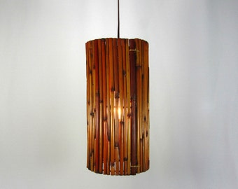 Pendant Bamboo Shade Light One of A Kind Judi's Custom Made Design NYC