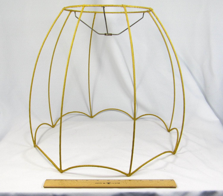 vintage lamp shade wire frame scallop bottom bell. Black Bedroom Furniture Sets. Home Design Ideas