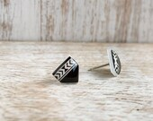 Raven Black Pueblo Post Earrings - Hypoallergenic Surgical Stainless Steel Posts
