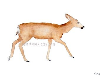 """Original watercolor or Limited Edition Print 5"""" x 7"""" -  Deer Walking. Forest creatures."""