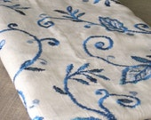 Embroidered Linen Remnant 56 x 33 - Sewing / Fabric / Buttons
