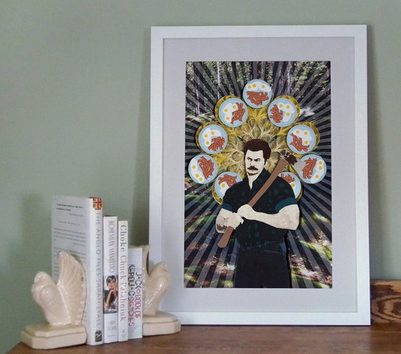 Ron Swanson poster, Parks and Rec Paper art print, Parks and Recaeation poster, 12x18, Ready to ship