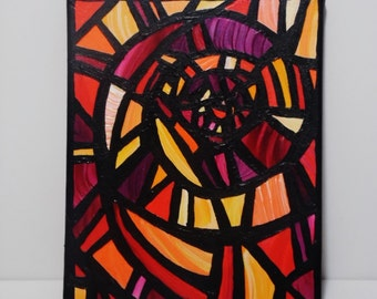 Original Abstract Small Stained Glass Window Acrylic Painting, Spiral, Red, Yellow, Orange, Black, Modern, Contemporary by Sara Larson Art
