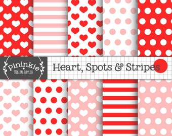 INSTANT DOWNLOAD - Digital Paper Pack - Hearts, Spots and Stripes - Valentines Day Red & Pink