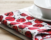 Kids Napkins - LadyBugs Fabric Napkins that fit perfectly on your Kid's Lap - Set of 2 Kid's Size Reversible Napkins
