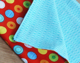 Back to School Kid's Napkins - Set of 2 - Red with Colored Dots