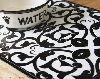 Repurposed Pet Placemat from a Shopping Bag - Small Size - Black and White Style