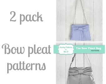 2 pack - Bow pleat handbag & Little bow pleat party purse PDF sewing patterns - Instant Download