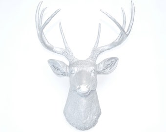Faux Taxidermy -  Metallic Silver Deer Head - Faux Deer Head Antlers Fake Taxidermy Wall Mount D1010