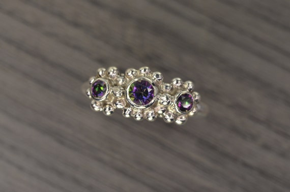 Jennifer Ring, size 9.5, Green Fire Mystic Topaz 3-stone ring (last one)