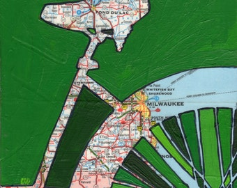 Bike Milwaukee - bike art, bicycle art featuring a vintage Wisconsin map