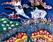 """Sheep in Moonlight While All Sleep - 16"""" x 20""""  art fabric from original batik - Quilting"""