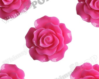 Large Detailed Fuchsia Pink Rose Deco Resin Cabochons, Flower Shaped, Flatback Roses, 20mm x 9mm (R1-020)