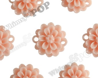 10 - Shabby Chic Peach Small Resin Bead / Cabochons, 14mm (R2-029)