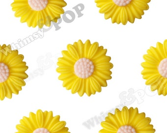 27mm - Large Matte Yellow Daisy Sunflower Resin Cabochons, Daisy Cabochons, Flower Cabochons, Sunflower Cabochons (R6-044)