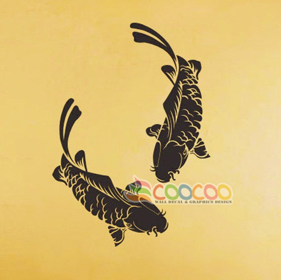 Wall decor sticker large vinyl single colors large koi fish for Koi fish wall stickers