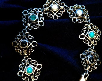 Gorgeous Unique Antique Open Work Sterling Silver Filigree Multi Gemstone Arts & Crafts Bracelet