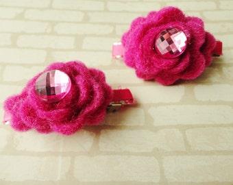 2 pink felt flower barrettes