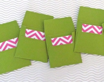 18 teeny tiny envelope chevron note sets handmade miniature mini square green pink stationery party favors wedding guest book