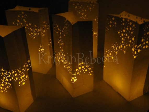 Galaxy Star Luminaries With LED Candles 12 For Christmas Party