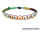 Same Love Bracelet, Rainbow Macrame Hemp - One Available, Ready to Ship