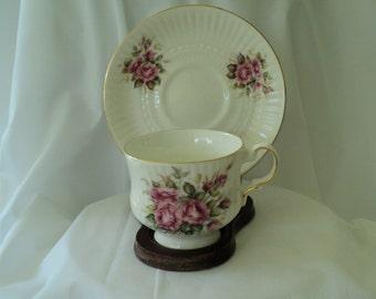 Vintage Tea Cup Hitkari Pottery Pink Rose Trio