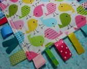 "Spring Baby Birds 8"" Crinkle Crackle Ribbon Sensory Minky Toy"