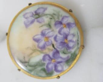 Vintage Hand Painted Floral Brooch