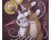 """Mice on Kalimba, Kazoo, and Zills. 8"""" x 10"""""""