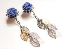 7/16 Inch Dangle Gauged Earrings 000g Ear Plugs Choose Rose Color 11mm Dangle Plugs Body Jewelry With Filigree Leaves Dangles