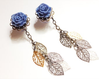 "1/2 Inch Dangle Gauged Earrings 12mm Choose Rose Plug Color 14mm 9/16"", 11mm 000g 7/16"" Dangle Plugs With Filigree Leaves Dangles"