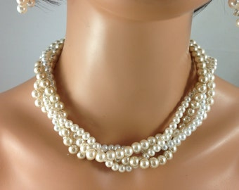 clearanced Champagne ivory and white strand necklace -bridesmaid jewelry- wedding jewelry