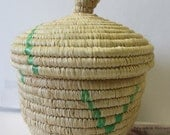 Medium Sized Natural with Hints of Green Colored Handmade Woven Grannie Basket with Lid- Nyaka,Uganda, African, Kitchen, Home Decor