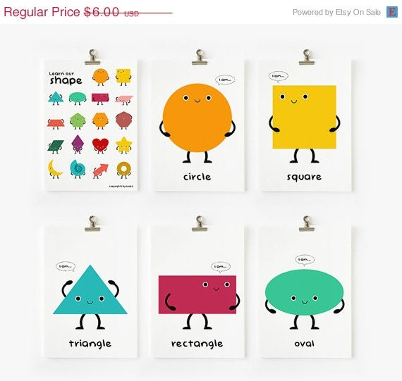 Items Similar To Cute Geometric Shapes Flash Cards