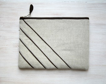 Linen and leather unique clutch purse Cosmetic bag Gadget case Stripe brown