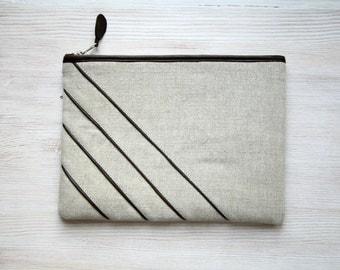 Linen and leather unique clutch purse Cosmetic bag Gadget case Stripe brown