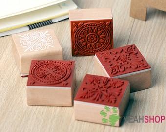Vintage Lace Square Wooden Rubber Stamp Decoration Stamp