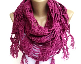 love pink fushia scarf ,shawl ,neckwarmer ,crocheted scarf shawl ,cowl - wrap - gift ideas for her