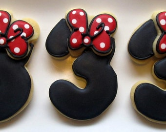 Mouse Bow Number Cookies 2 dozen