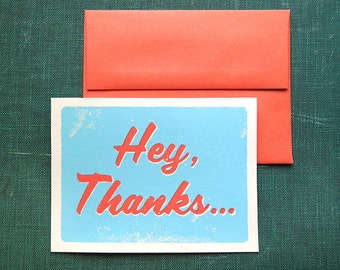 Hey, Thanks - 5 pack of Screen Printed Thank You Cards