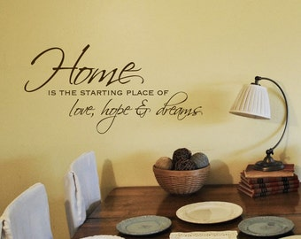 Home is the starting place of love hope & dreams - vinyl wall art